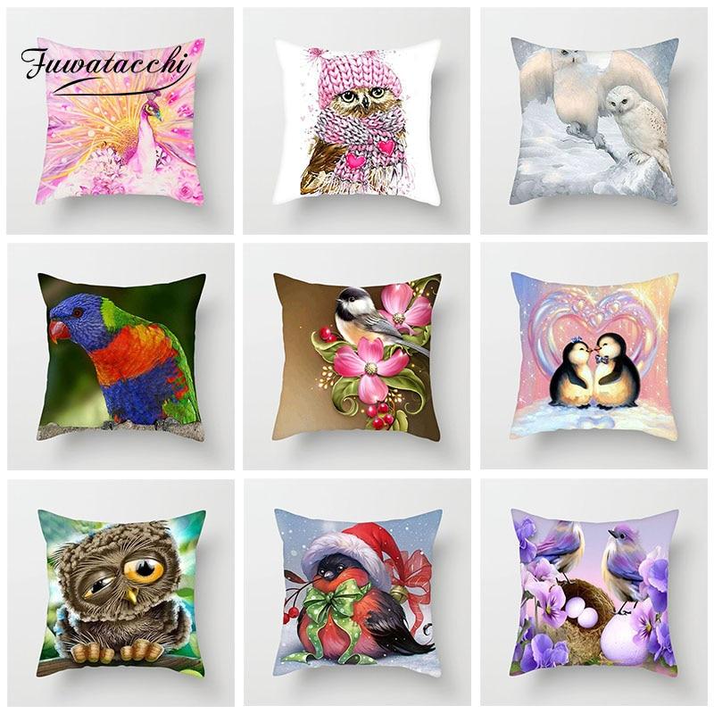Fuwatacchi dos desenhos animados animal capa de almofada bonito pássaro coruja pinguim travesseiros capa decoração para o carro casa sofá fronha 45cm * 45cm