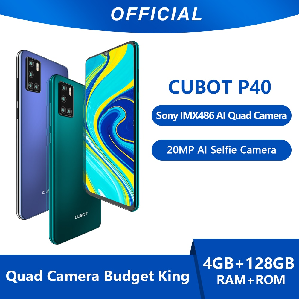 Cubot P40 Smartphone NFC 4GB+128GB Rear Quad Camera 20MP Selfie 6.2 Inch 4200mAh Android 10 Dual SIM