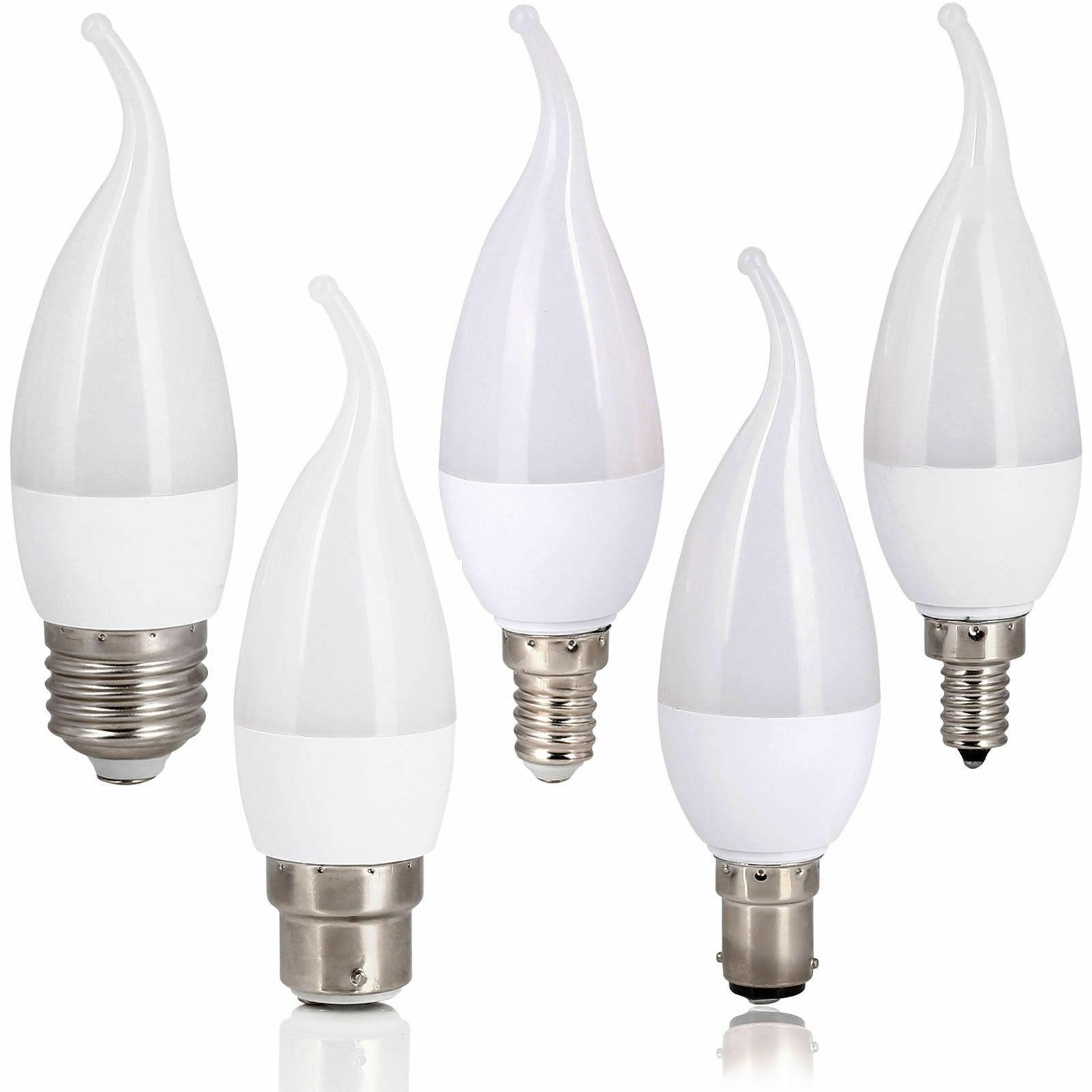 3W E12 E14 B22 E26 E27 LED candelabro con llamas bombilla vela...