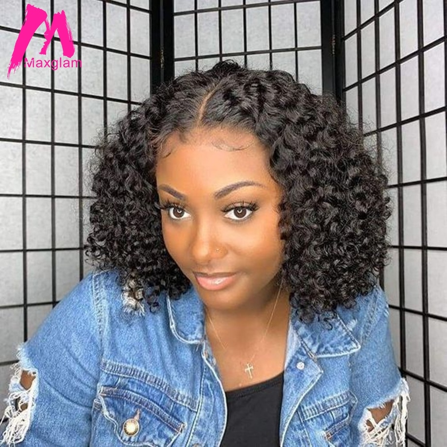 Pelucas de cabello humano rizado con encaje frontal Afro brasileño peluca frontal de 13x6 Bob peluca corta larga Natural precortada para mujeres negras remy