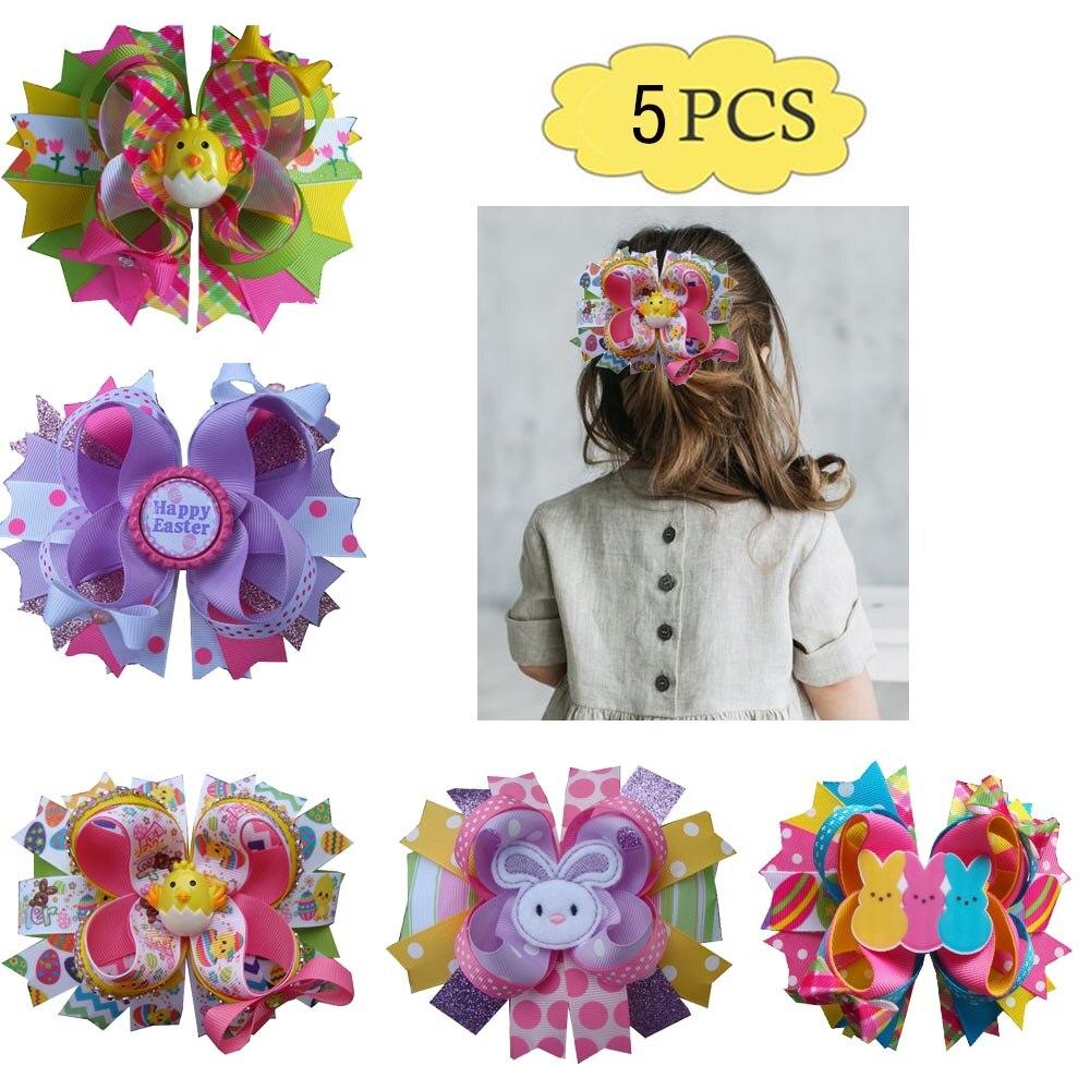 Envío Gratis, 5 uds., lazos para el pelo de Pascua, pinzas para el pelo de conejito bonito, accesorios para el cabello de primavera, cesta de conejos de lazos para niñas