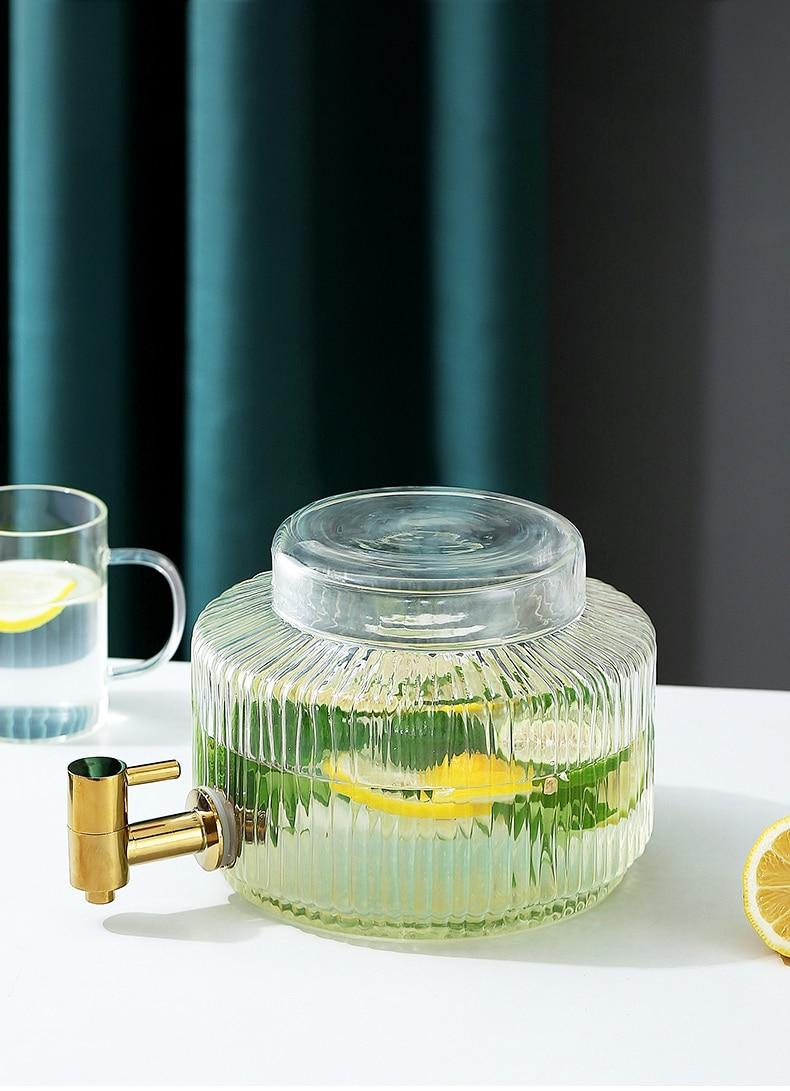 BFE Transparent Amber Glass Water Pitcher Household Fridge Teapot With Tap 3L Lemon Beverage Barrel