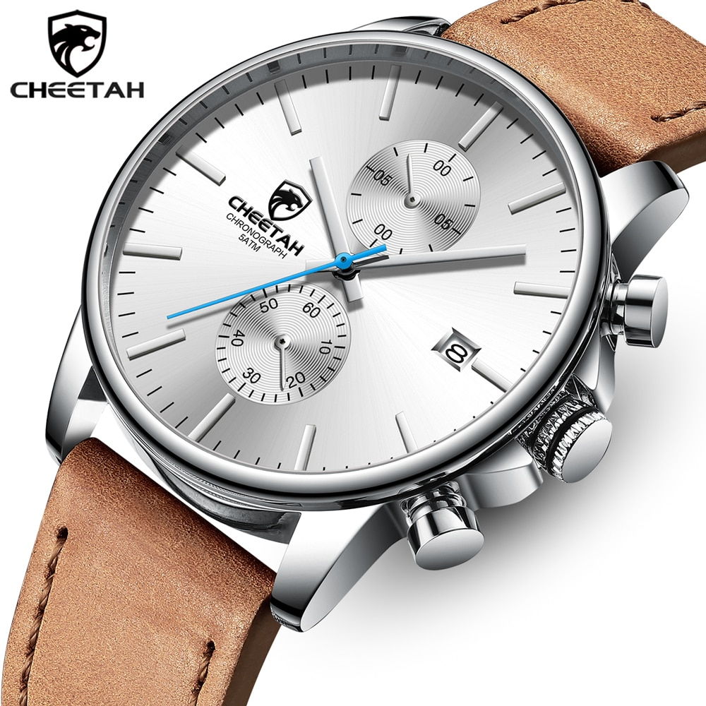 Reloj CHEETAH de lujo para hombre, relojes de cuarzo analógicos a la moda para hombre, cronógrafo deportivo, reloj de pulsera impermeable, reloj Masculino