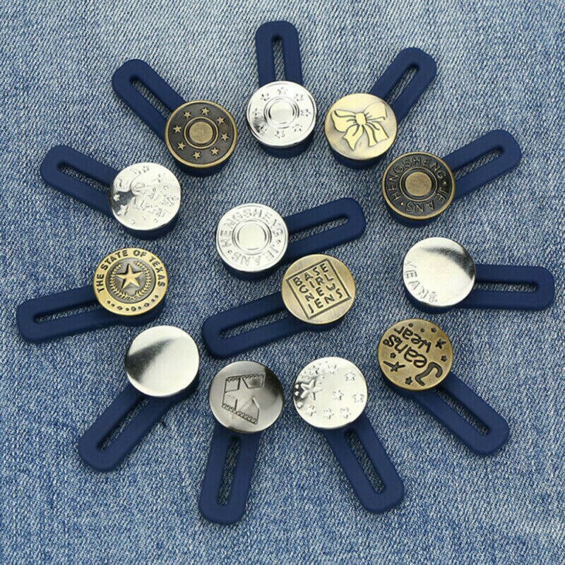 Adjustable Disassembly Retractable Jeans Waist Extension Button Metal Letter Buttons Free Sewing Buttons Jokers Increase Waist