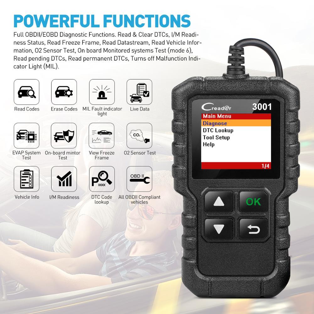 LAUNCH X431 CR3001 USB actualización gratuita OBD2 escáner de coche OBD 2 lector de código de motor Creader 3001 herramienta de diagnóstico automático PK CR319 ELM 327