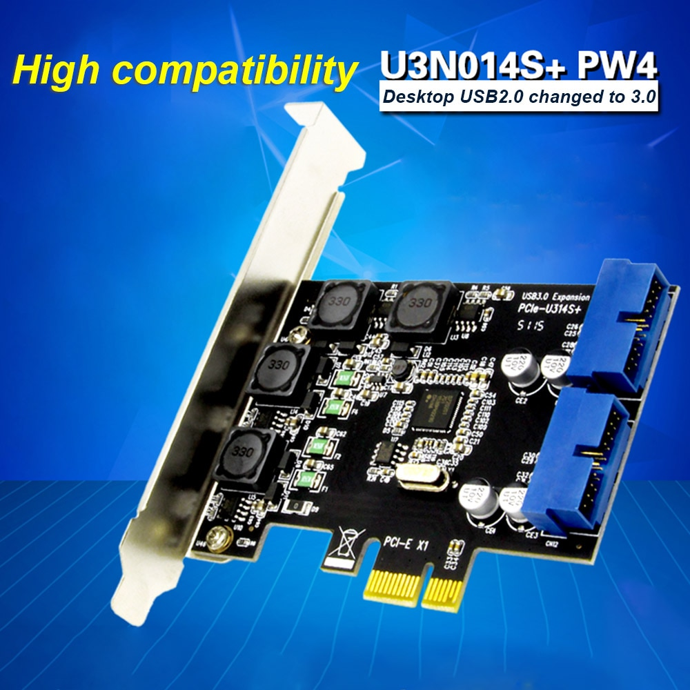 PCI Express Card PCI-E to USB 3.0 Dual 19/20 Pin Interface PCI-E Expansion Card High Speed Data Transfer Adapter