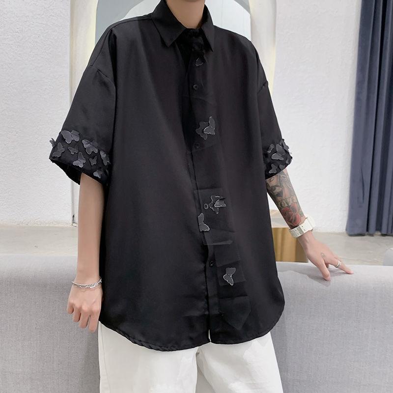Рубашки с принтом Мужские корейские модные повседневные рубашки мужские свободные рубашки с принтом бабочки мужские универсальные рубашк...