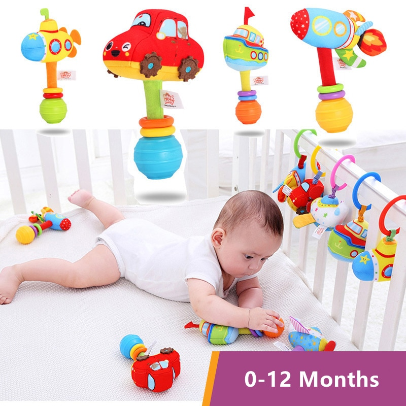 0-12 Months Baby Rattles Newborn Visual Grab Ability Training Plush Toys Infant Stroller Bed Hanging