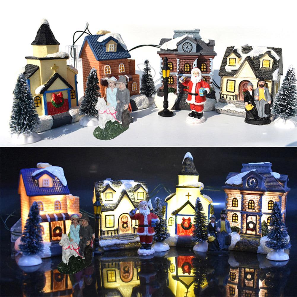 10 pçs crianças presente conjunto boneca de natal estatueta casa aldeia edifício # d0