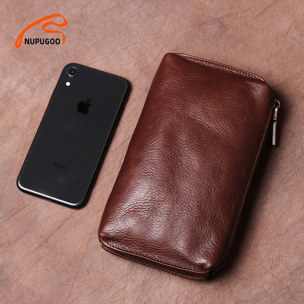 Vintage Men Clutch Bags Genuine Leather Casual Long Wallet Brown Credit Card Holder Small Phone Bag