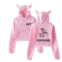 NCT 127 Sexy estampado mujeres exclusiva divertido gato Crop Top Kawaii Hoodies sudadera moda ropa fresca talla grande XXS-2XL