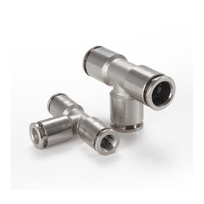 Conectores de conexión rápida de níquel Chapado en cobre, conector en T de manguera de PE de 4-16mm, conectores rápidos de ajuste