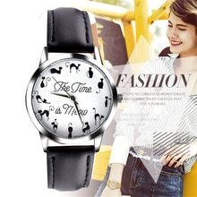 Cute Women Men Cat Form Watch Fashion Design Leather Band Wristwatch Simple Vintage Quartz Clock Dre
