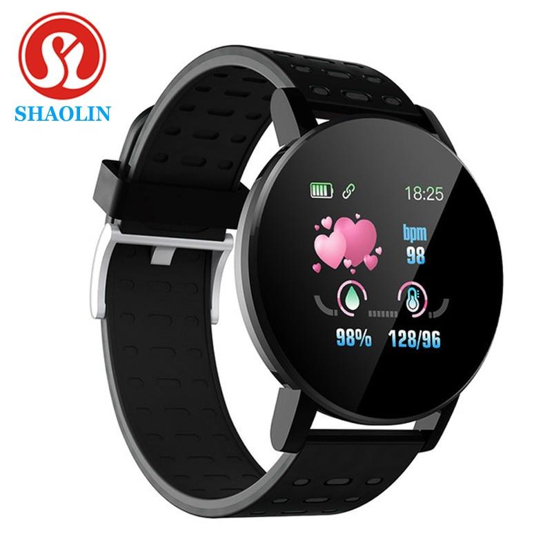 شاولين بلوتوث ساعة ذكية الرجال ضغط الدم Smartwatch النساء الساعات الذكية الفرقة الرياضة المقتفي لنظام أندرويد IOS