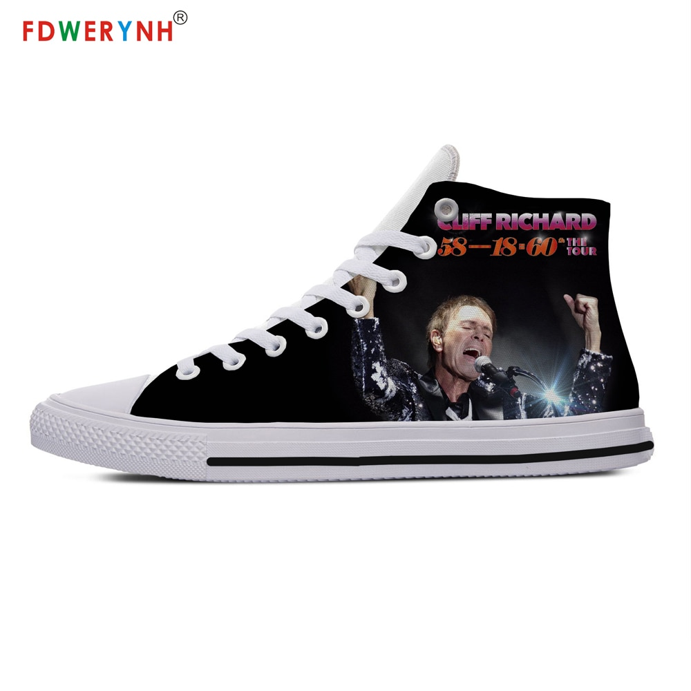 White Cliff Richard Street Customized Printed High-top Canvas Shoes Breathable Casual Lace-up Shoes Men's Walking Shoes