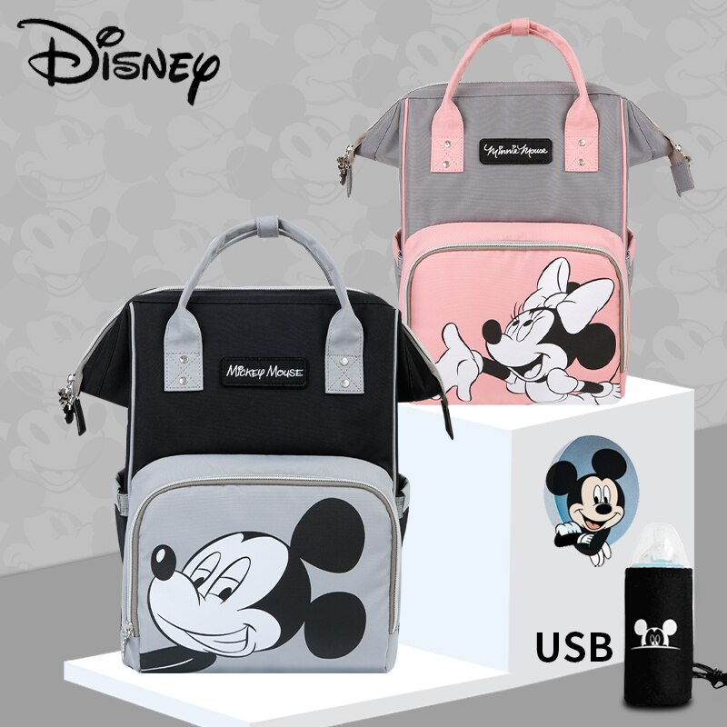 Disney Mickey Large Capacity Diaper Bag Minnie USB Nappy Bag Maternity Mummy Baby Travel Backpack For Baby Care Designer Pink disney mickey mouse diaper bag waterproof baby care mummy bag maternity backpack large nappy bag oxford cloth baby bag
