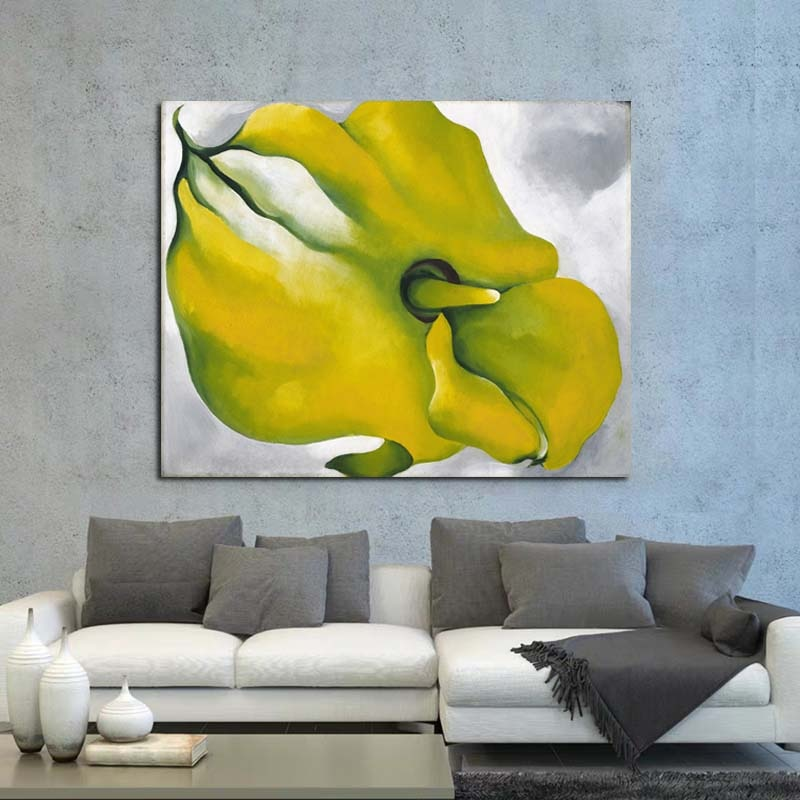 Georgia oKeeffe lienzo amarillo Calla pintura carteles impresiones mármol pared arte cuadro de pintura decorativa decoración moderna del hogar