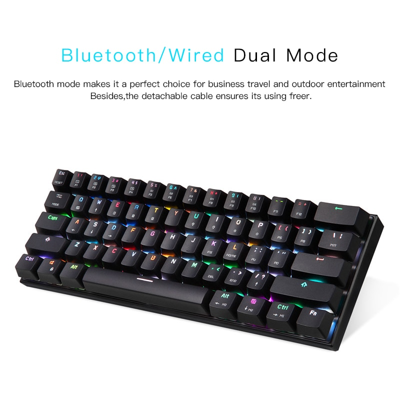 MOTOSPEED CK62 Keyboard Wireless Keyboard Dual Mode Mechanical Keyboard 61 Keys RGB LED Backlight Gaming Keyboard