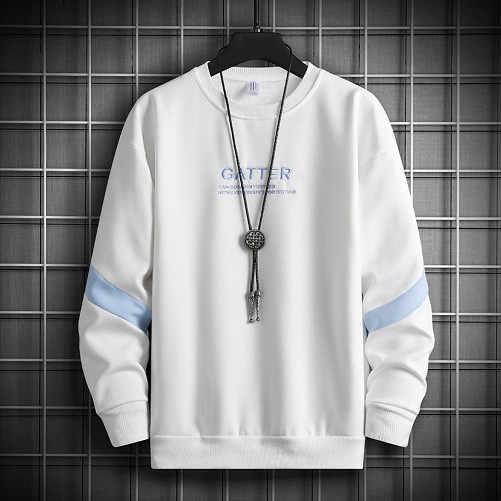 Свитшот мужской с вышивкой, уличная одежда в стиле Харадзюку, худи, повседневный черный свитшот, уличная одежда, осень-весна 2021