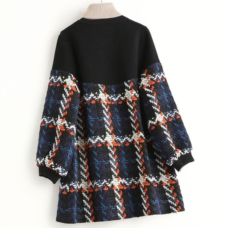 Abrigo de lana de Tweed para Mujer, chaqueta a cuadros, otoño, invierno,...