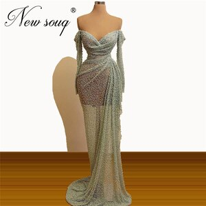 Dubai 2020 Long Beaded Evening Dresses Robe De Soiree Kaftans Islamic Formal Gowns Middle East New See Through Prom Dress Aibye