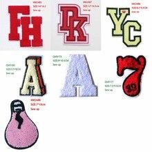 Patch décoratif de dessin animé   Serviette, icône numéro A 7, patchs brodés appliques pour fer bricolage, Badges sur vêtements, sac à dos