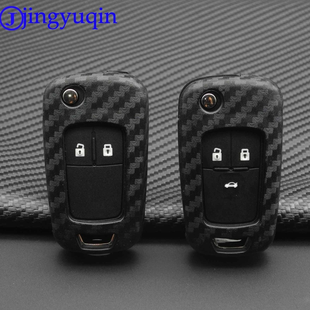 Jingyuqin 2B étui à clés de voiture en Silicone de carbone pour Chevrolet Cruze Aveo Trax Opel Astra Corsa Meriva Zafira Antara J Mokka Insignia