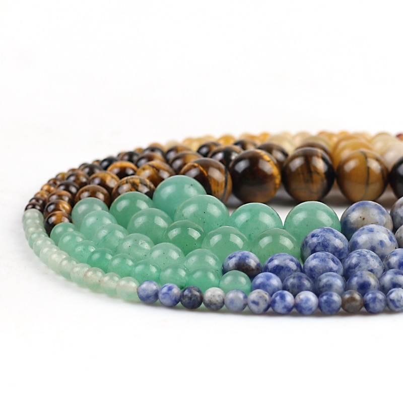 Natural Stone Beads Multi-Colored Round Loose Spacer Beads 15''Strand 4/6/8/10/12mm For Jewelry Making DIY Bracelet  - buy with discount