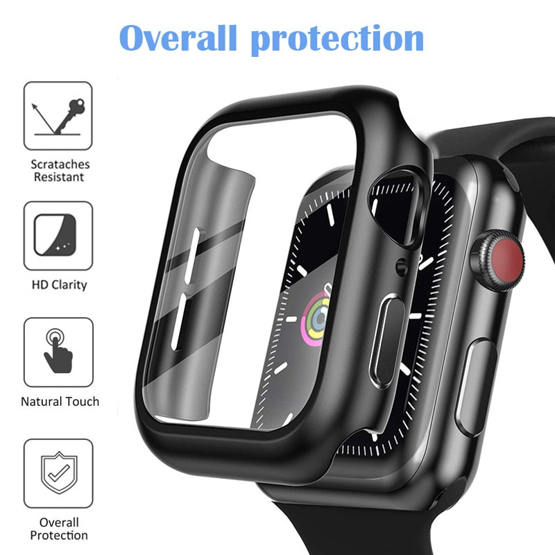 glass cover for apple watch case 6 se 5 4 3 2 1 iwatch 42mm 38mm bumper tempered glass for apple watch 44mm 40mm 42mm 38mm Full Screen Protector Case For Apple Watch 6/SE/5/4/3/2/1 Bumper Hard Cover Tempered Glass Film For Iwatch 38mm 40mm 42mm 44mm