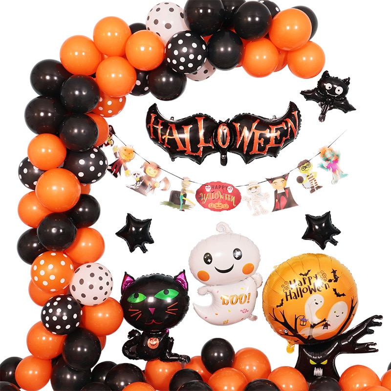 The Latest Halloween Balloon Chain Set Bat Spider Skull Holiday Atmosphere Decoration Balloon Decora