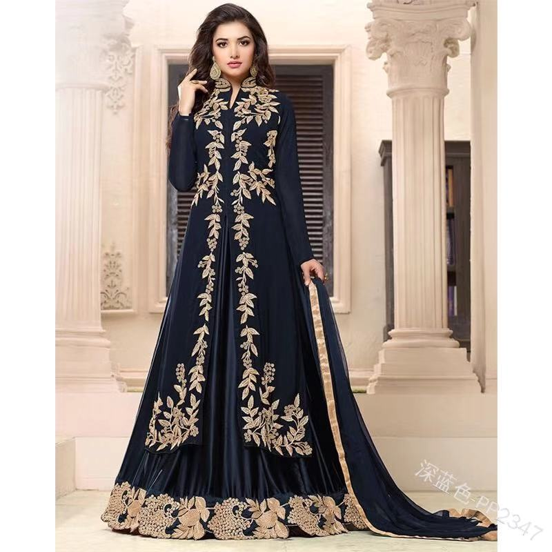 long sleeve dress with retro ethnic embroidered india style women dress