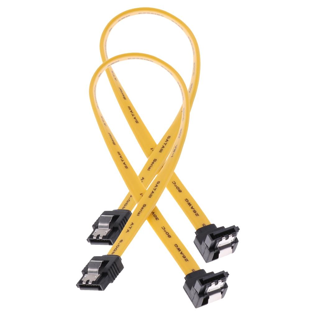 2x cabo de movimentação de dados sata iii 6.0 gbps com trava de travamento 11.8 polegada/30cm 90 graus