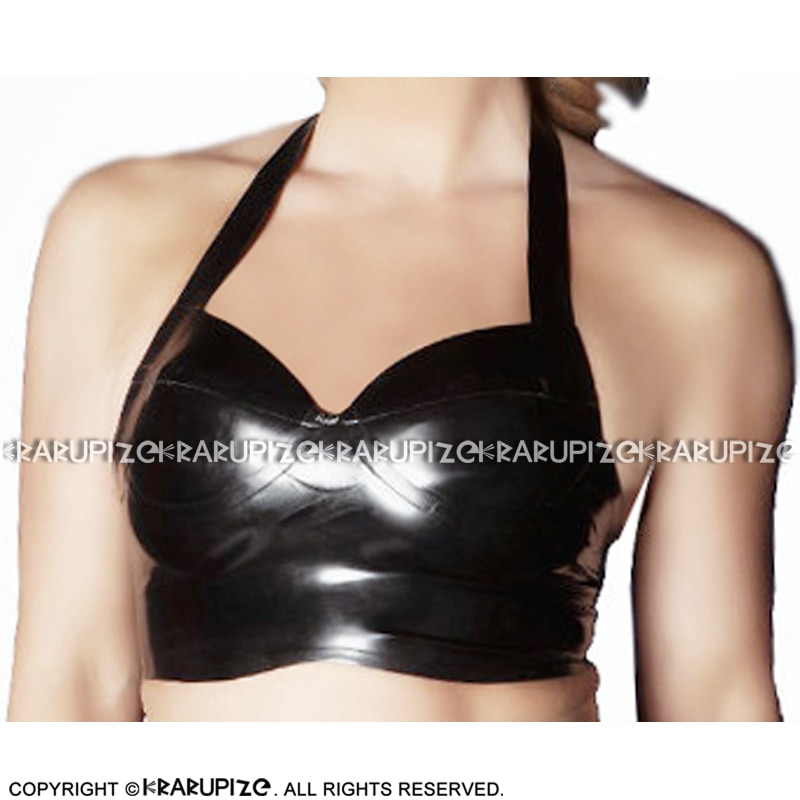 Black Sexy Halter Latex Crop Top With Glued Breast Rubber Bra Lingerie Brassieres Clothes YF-0209