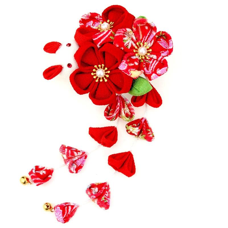 Estilo japonés tradicional copered Tassel Kanzashi Wisteria flor boda Kimono hecho a mano pelo Pin boda Headclaw HW016