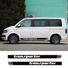 2 pçs saia lateral da porta do carro listras gráficas decalques para volkswagen vw transporter multivan t4 t5 t6 auto decoração adesivos acessórios
