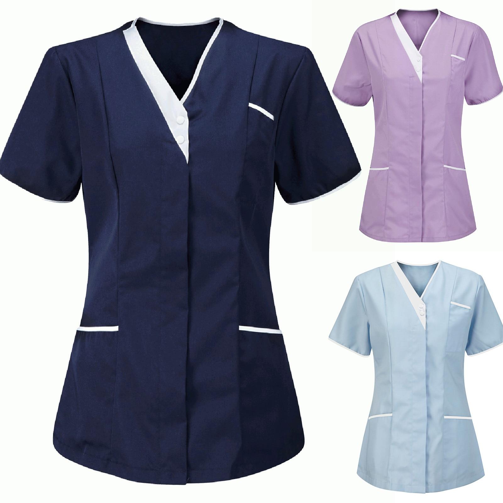 Женская Туника форма медсестер защитная одежда с V-образным вырезом топы аксессуары для медсестер униформа медсестры Блузка мужская одежда...