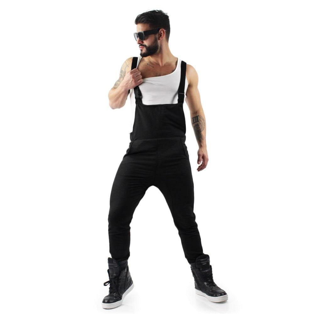 2021 Men Bib Pants Solid Color Casual Jumpsuits Streetwear Jogger Multi Pockets Fashion Suspenders Cargo Overalls Plus Size 3XL