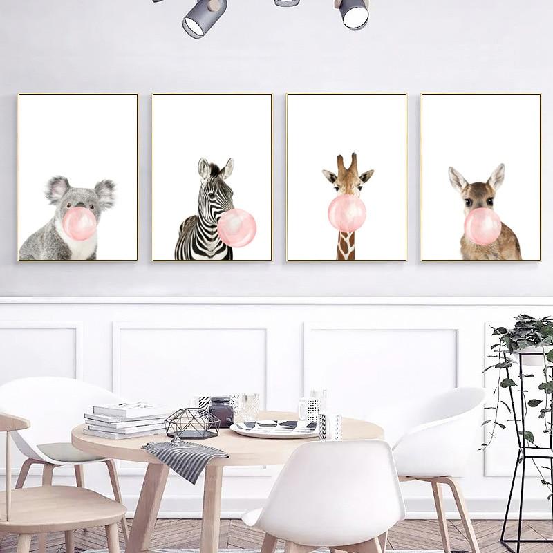 Rosa Kaugummi Giraffe Zebra Tiere Leinwand Malerei Kindergarten Wand Kunst Druck Nordic Poster Cartoon Wand Bilder Kids Room Decor