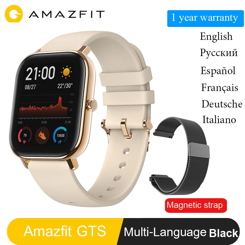 Versión Global Amazfit GTS reloj inteligente Huami GPS profesional a prueba de agua ritmo cardíaco natación deporte reloj 14 días batería en espera