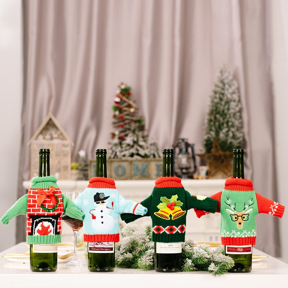 New Christmas Decoration Christmas Knitted Clothes Wine Set Red Wine Bottle Bag Table Holiday Decora