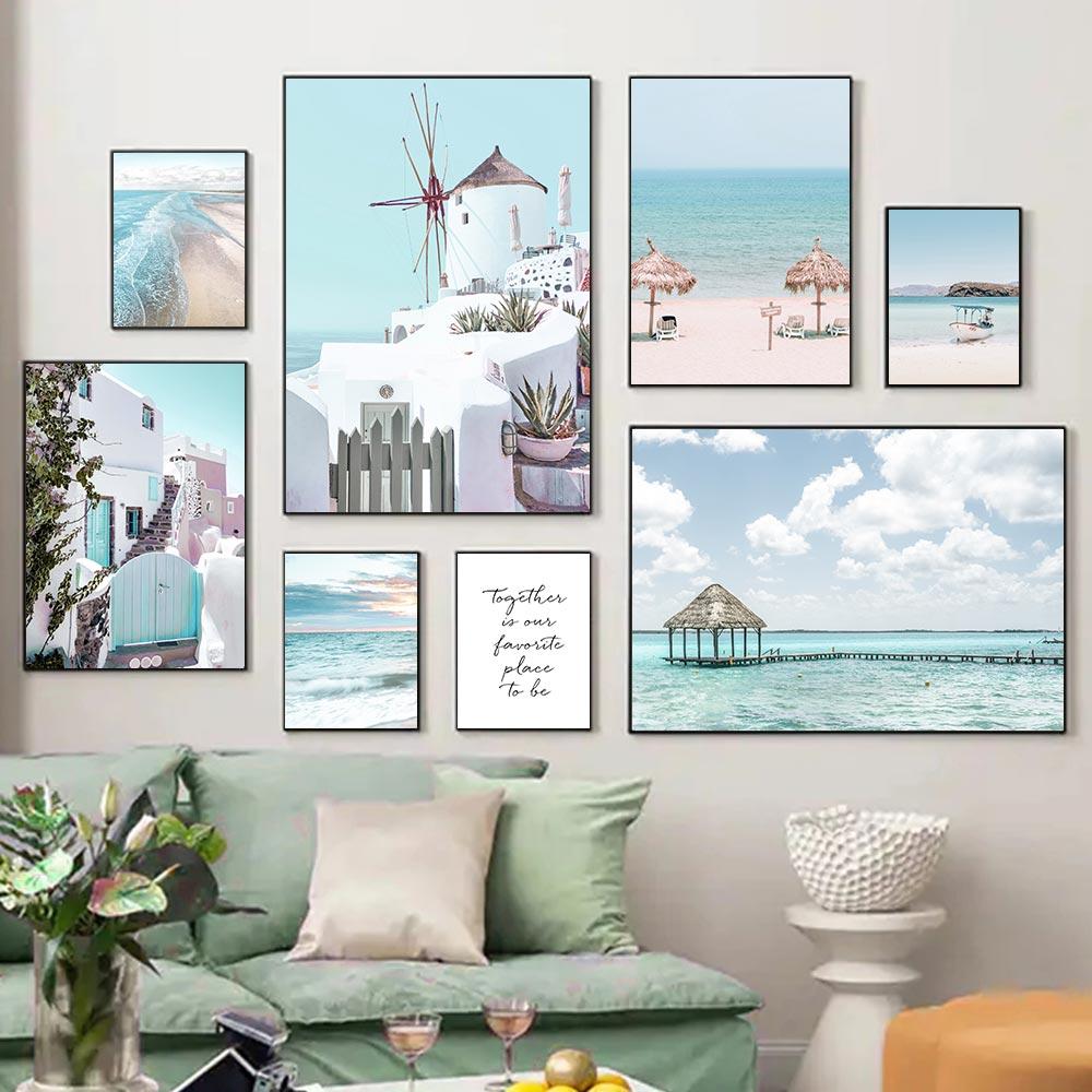 Постер океан, пляж, берег, туристический город, холст, печать, морской пейзаж, настенная живопись, скандинавские постеры и принты, декор для г...