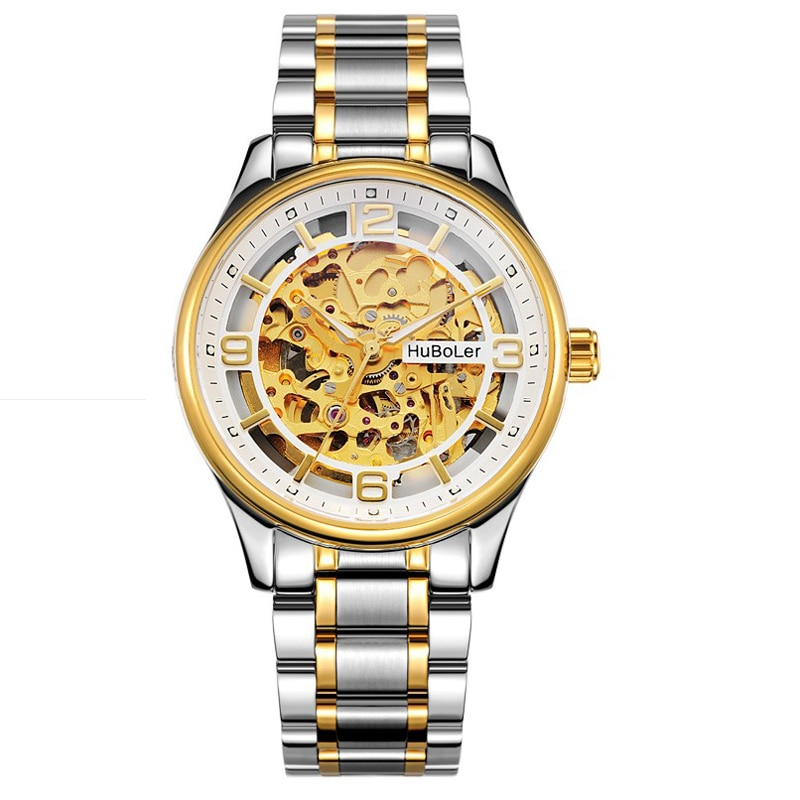 Reloj mecánico automático de zafiro para hombre con esfera esquelética dorada Huboler de 39MM, reloj luminoso para hombre