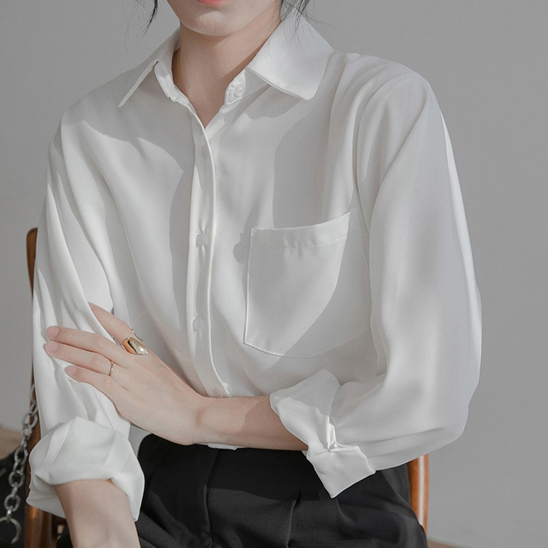 H4031ac7bd85249c8b4041dd340e6a79cI - Spring / Autumn Turn-Down Collar Long Sleeves Solid Pocket Blouse
