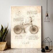 BMX Bike design drawings Canvas Art  Poster Home Wall Decor (No Frame)