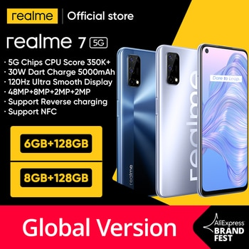 Realme – smartphone, 7, 6 go, 128 go, écran 120Hz, caméra 48mp, 5G, 800u, recharge 30W, recharge rapide, 5000mAh, Version internationale