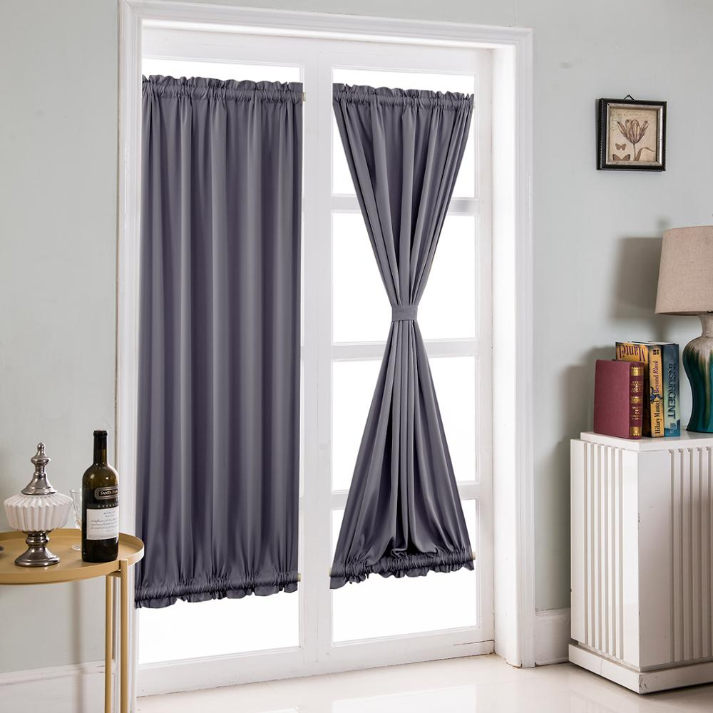 Cortina de puerta francesa de 1 Panel de oscurecimiento, barra de tela suave, cortina de puerta de bolsillo para cortinas de ventana, incluida una barra ajustable adicional