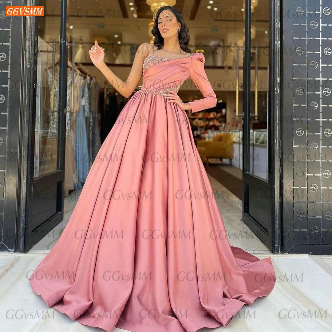 Vestidos De fiesta de manga larga para mujer, ropa rosa de moda,...