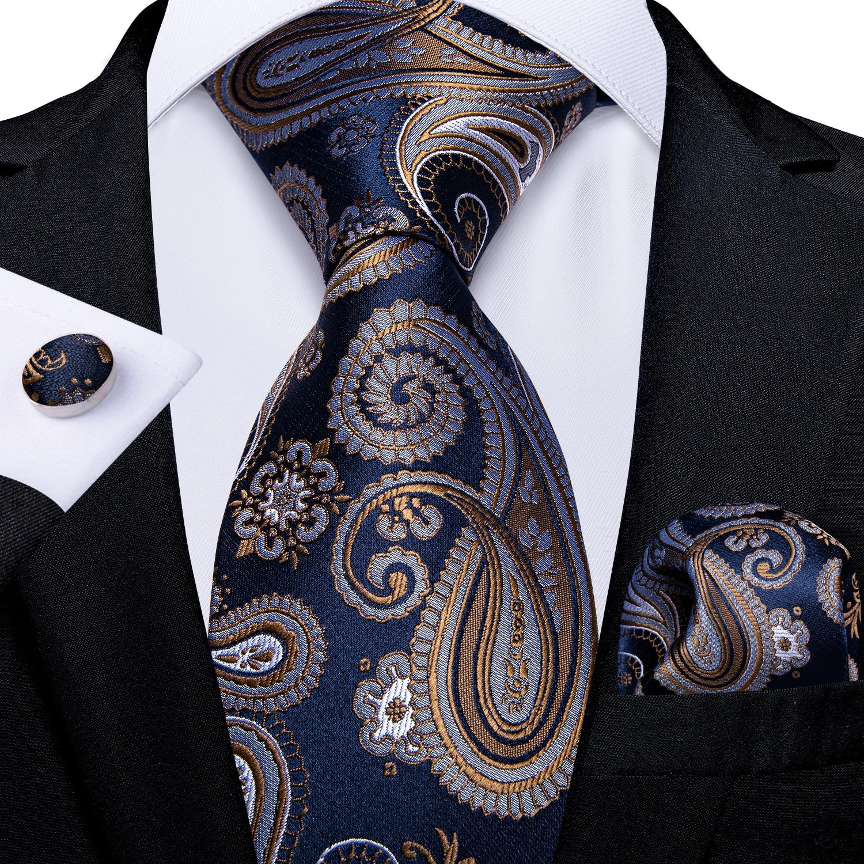 Luxury Blue Gold Paisley Men's Tie Business Wedding Formal Neck Tie For Men Gift Cravate Silk Tie Handkerchief Cufflinks DiBanGu