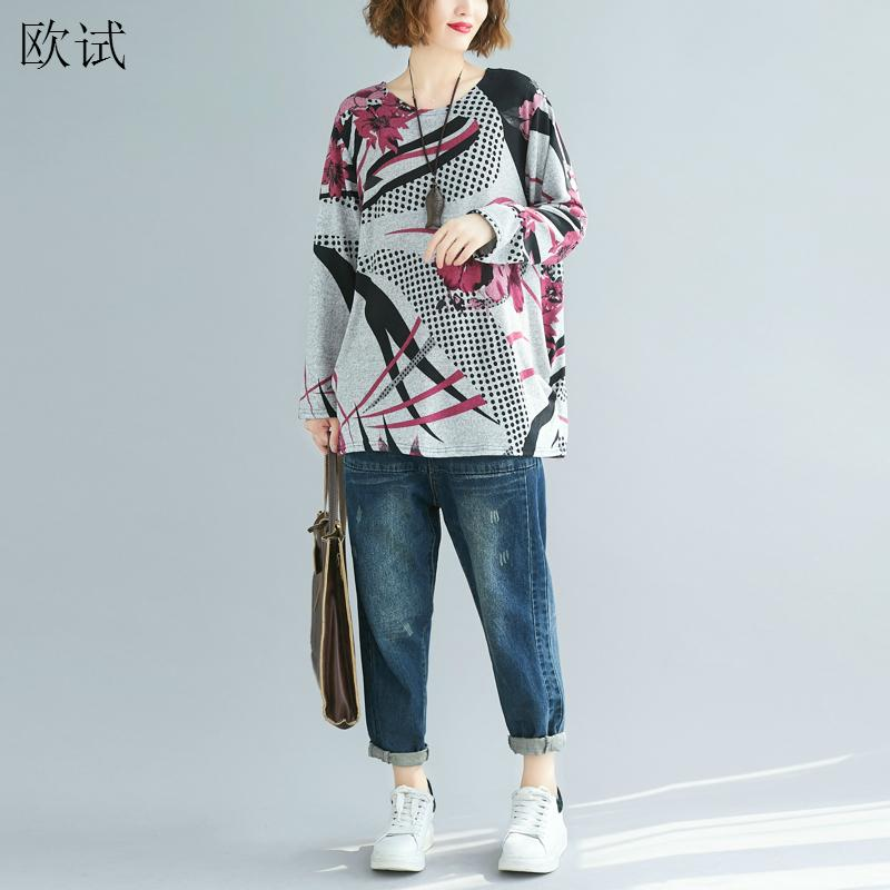 Plus Size Graphic Tees T Shirt Long Sleeve Women Floral Printed Tshirt Vintage T-shirt Womens Tshirts Casual Top Fall Clothes