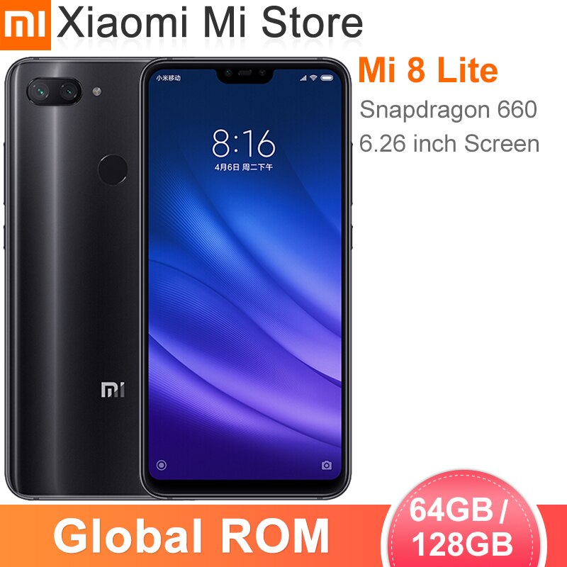 "En Stock ROM global Xiaomi mi 8 Lite 6GB RAM 64GB ROM Smartphone Snapdragon 660 de 6,26 ""FHD pantalla 24.0MP cámara frontal"